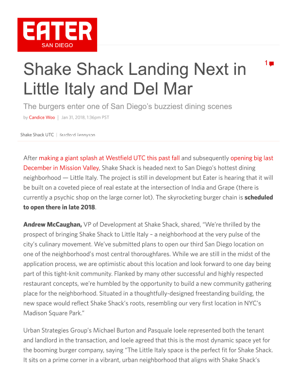 Fa 01.31.2018 Eater Sd Shake Shack Landing Next In Little Italy And Del Mar