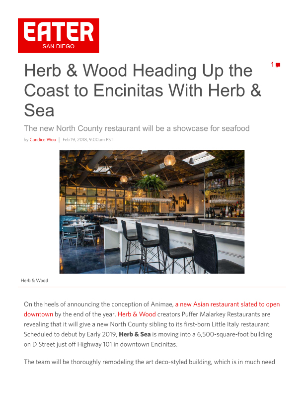 Fa 02.19.2018 Eater Sd Herb & Wood Heading Up The Coast To Encinitas With Herb & Sea