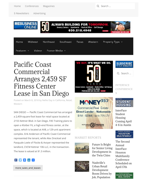 Fa 03.08.2018 Rebusinessonline Pacific Coast Commercial Arranges 2,459 Sf Fitness Center Lease In San Diego
