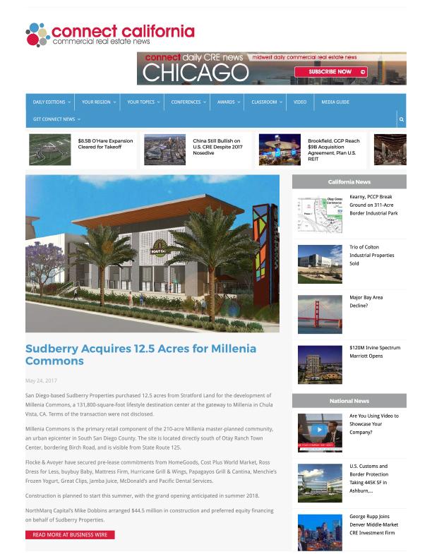 Fa 05.24.2017 Connect California Sudberry Acquires 12.5 Acres For Millenia Commons