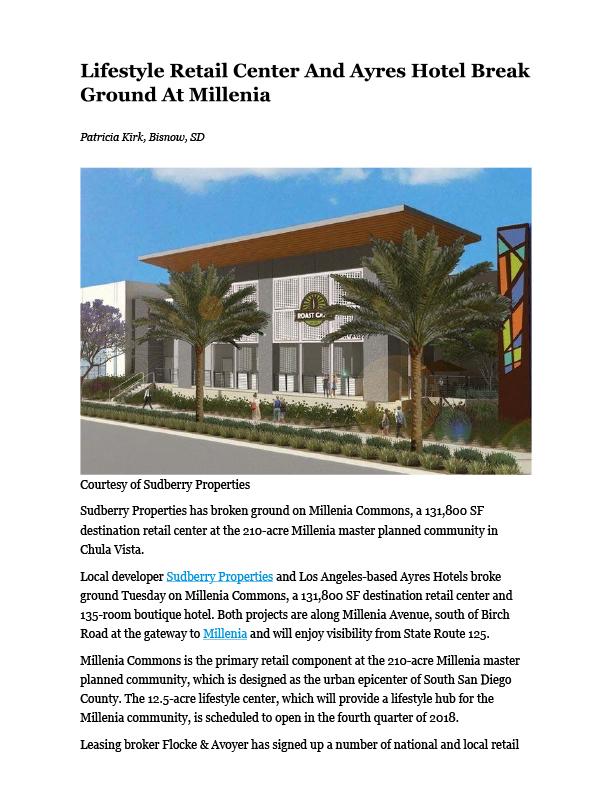 Fa 08.17.2017 Bisnow Lifestyle Retail Center And Ayres Hotel Break Ground At Millenia