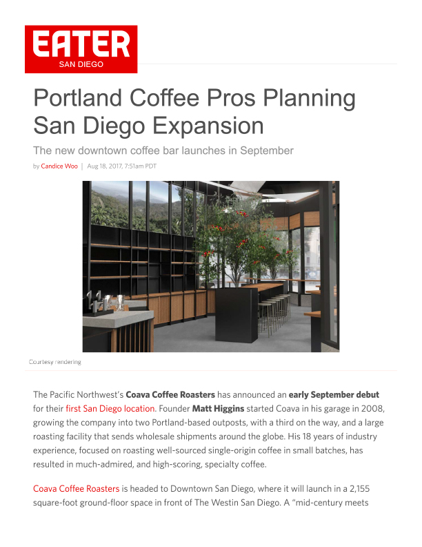 Fa 08.18.2017 Eater Sd Portland Coffee Pros Planning San Diego Expansion