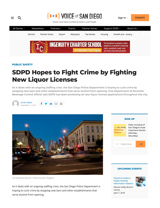 Fa 11.11.2017 Voice Of Sd Sdpd Hopes To Fight Crime By Fighting New Liquor Licenses