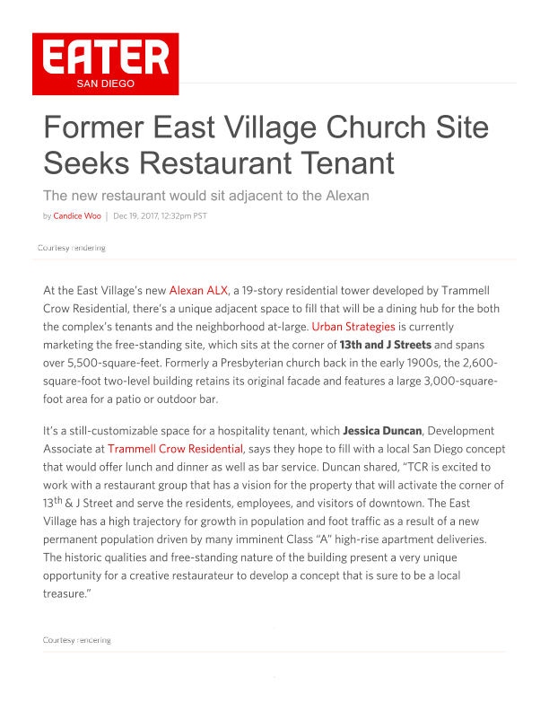 Fa 12.19.2017 Eater Sd Former East Village Church Site Seeks Restaurant Tenant
