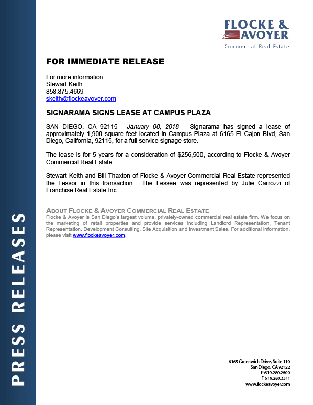 Fa Pr 01.08.2018 Signarama Signs Lease At Campus Plaza