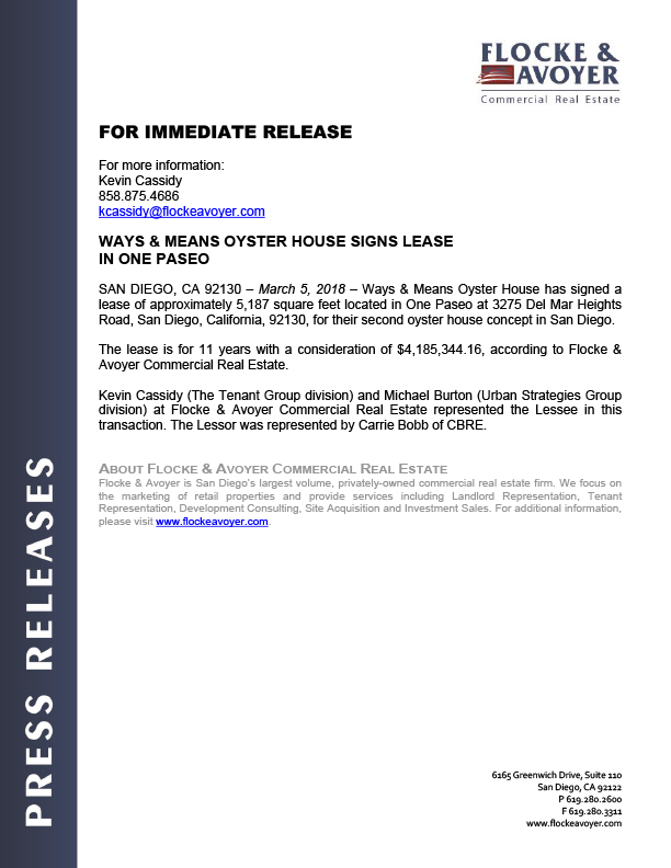 Fa Pr 03.05.2018 Ways & Means Oyster House Signs Lease In One Paseo