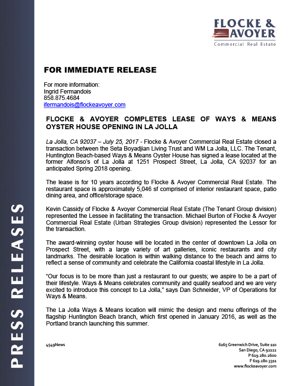 Fa Pr 07.25.2017 Flocke & Avoyer Completes Lease Of Ways & Means Oyster House Opening In La Jolla