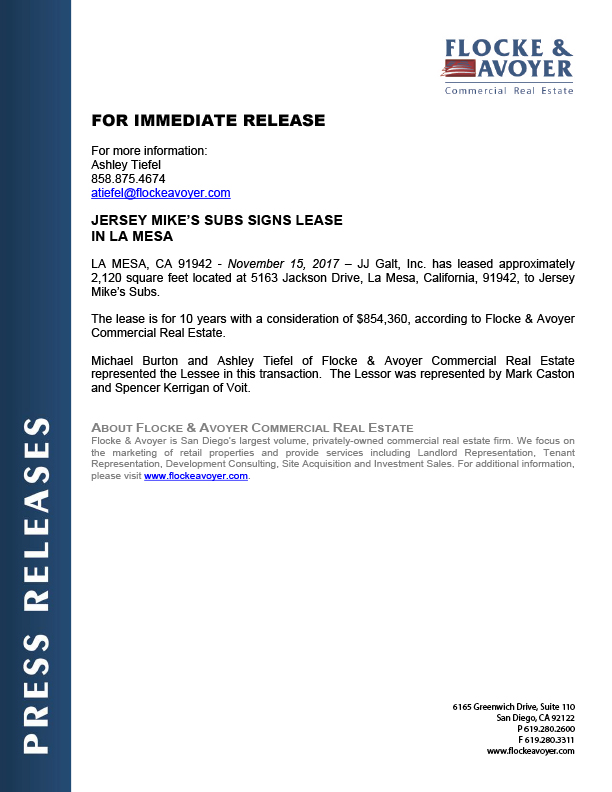 Fa Pr 11.15.2017 Jersey Mike's Subs Signs Lease In La Mesa