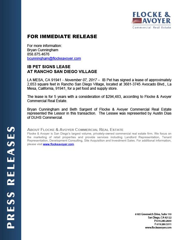 Fa Pr 11.17.2017 Ib Pet Signs Lease At Rancho San Diego Village