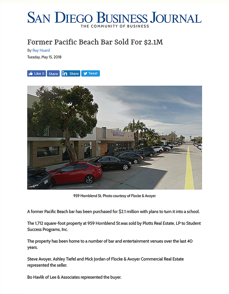 Fa 05.15.2018 San Diego Business Journal Former Pacific Beach Bar Sold For $2.1m