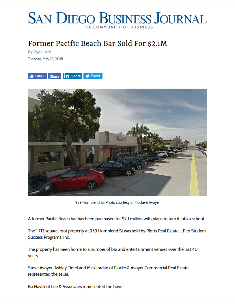 Fa 05152018 San Diego Business Journal Former Pacific Beach Bar Sold For 21m