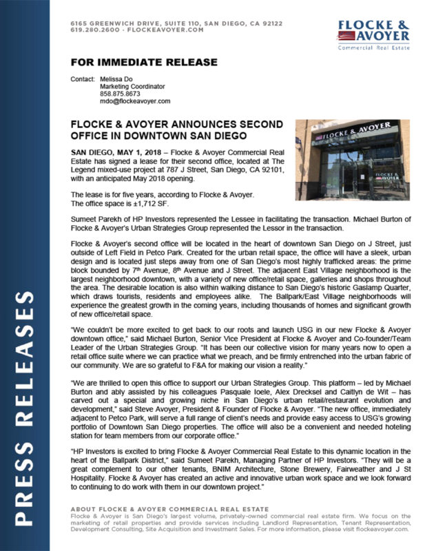 Fa Pr 05.01.2018 Flocke & Avoyer Announces Second Office In Downtown San Diego