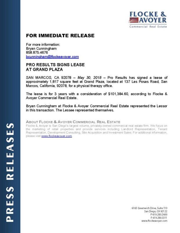 Fa Pr 05.30.2018 Pro Results Signs Lease At Grand Plaza