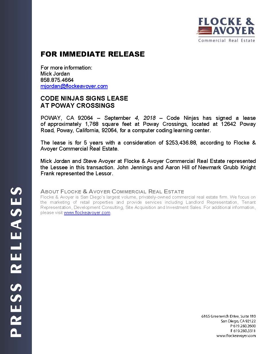 Fa Pr 09.04.2018 Code Ninjas Signs Lease At Poway Crossings