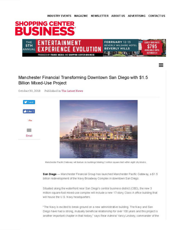 Fa 10.31.2018 Shopping Center Business Manchester Financial Transforming Downtown San Diego With $1.5 Billion Mixed Use Project