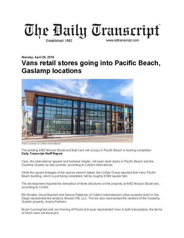 Vans Retail Stores Going Into Pacific Beach Gaslamp Locations Page 1