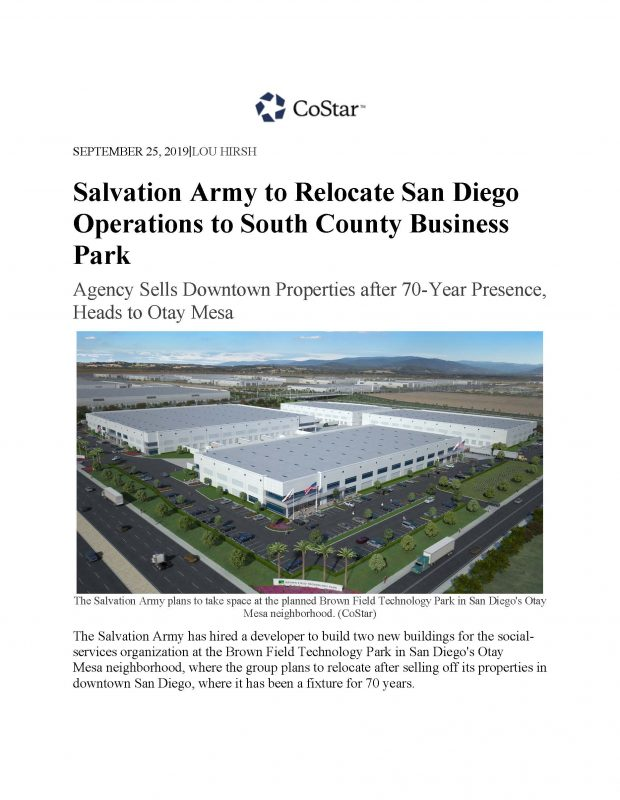 Salvation Army To Relocate San Diego Operations To South County Business Park Page 1