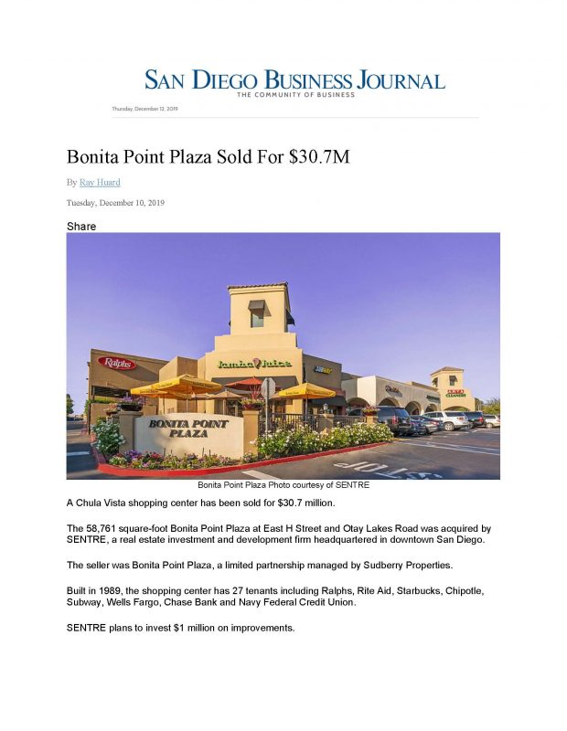 Bonita Point Plaza Sold For Page 1