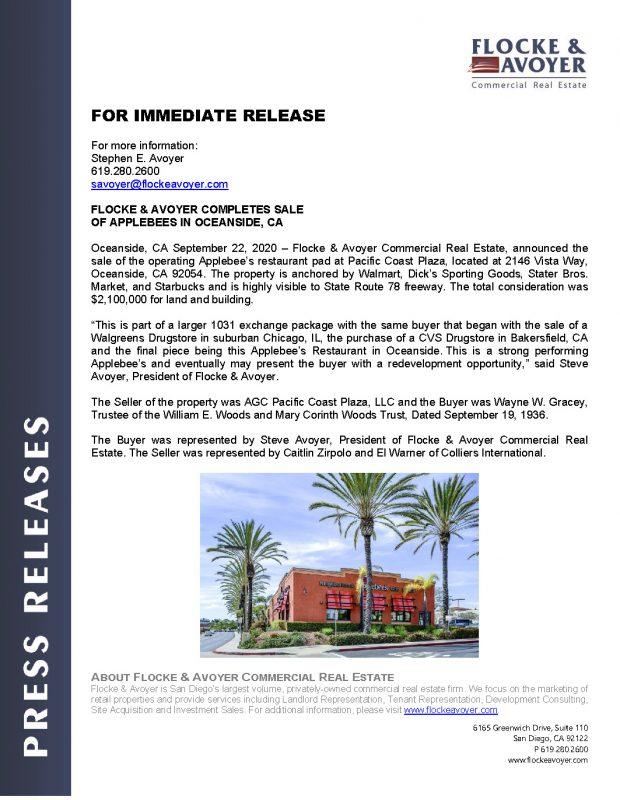 Fa Pr 9.22.2020 Flocke & Avoyer Sells Applebee's