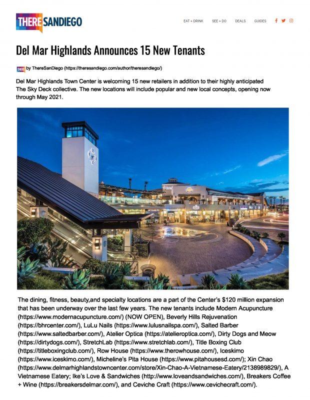 Del Mar Highlands Town Center Announces 15 New Tenants Page 1